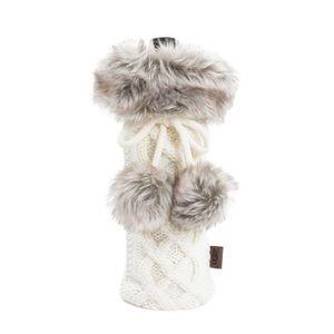 UGG Faux Fur Cable Knit Wine Bottle Holder